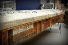 Nice and #rustic - #coffeesack #bench #reclaimed #wood