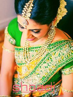 Beauty Pictures: Wedding saree and Bride Indian Bridal Sarees, Indian Bridal Makeup, Indian Bridal Wear, Tamil Wedding, Saree Wedding, Wedding Bride, Wedding Sutra, Wedding Attire, Wedding Bells