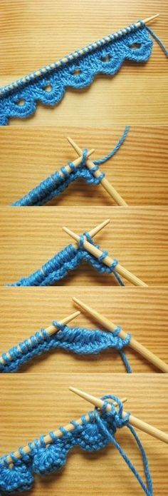 """jolie bordure de tricot """"Scalloped Knitting Edge Stitch - How Did You Make This?"""", """"This 2 row knitting pattern makes a very impressive scalloped knitti Knitting Stiches, Loom Knitting, Knitting Patterns Free, Free Knitting, Crochet Patterns, Knit Stitches, Free Pattern, Crochet Edgings, Lace Patterns"""
