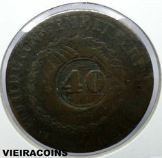 1832  BRAZIL 40 REIS - KM# 446 /447 - COUNTERMARKED  COINAGE-   #5096