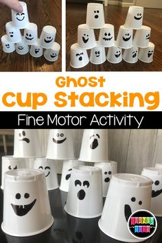 Ghost Cup Stacking Fine Motor Activity Perfect For Halloween Preschool Theme Halloween Tags, Preschool Halloween Party, Theme Halloween, Halloween Activities For Kids, Holiday Activities, Fall Preschool Activities, October Preschool Crafts, Toddler Halloween Crafts, Halloween Theme Preschool