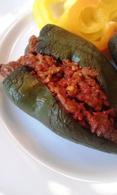 I bought poblanos at the farmers' market today and need some ideas.  I think this would be better with pulled cumin pork. :)