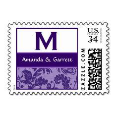 PURPLE Swirl Leaf Damask Monogram Wedding V1 Stamps