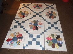 Dresden Plate Irish Chain Combo Set *****This is combo set....12 blocks per set, each block is 15.5 inches....you get 6 of the Irish Chain and 6 of the Dresden Plate...per set *****This quilt block set is a scrappy one...each dresden will vary in color and fabric design...no 2