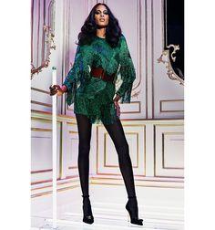 balmain green party dress