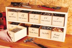 AW Extra – Quick-and-Easy Storage Boxes I finally found a use for all that scrap plywood I've been hanging onto. I made a bunch of small storage boxes with it and a small shelf to put them on. They're quick to build. Just glue and nail the… Woodworking Box, Woodworking Magazine, Woodworking Workshop, Woodworking Techniques, Easy Woodworking Projects, Popular Woodworking, Woodworking Furniture, Woodworking Videos, Wood Projects