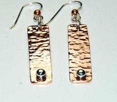 Etsy. Hammered Copper Earrings Mixed Metal Earrings Long by ELEVEN13