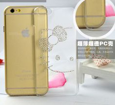 Hello kitty Ultra Transparent Clear Bling Hard Case Cover for Iphone 6/ 6 Plus