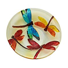 "13"" Bowl of Dragonflies Slumped & Fused Hand Painted Glass bowl One -of-a-kind, Hand-made REGARDING SHIPPING: Everything we ship is professionally packed by glass artists with 20 years experience pack"