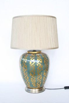 Teal Gold lamp and shade – Unique Wood