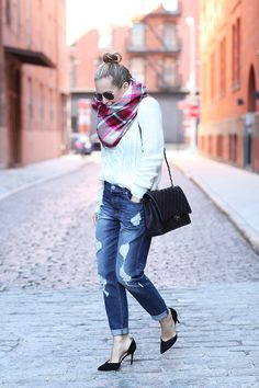 Cool & Crisp via BrooklynBlonde.com / @Helena Glazer Coat: Express | Sweater: Express | Denim: Express | Scarf: Express | Shoes: Marc Fisher | Bag: Chanel Caviar Maxi | Face Highlighter/Shimmer | Sunglasses: Ray Ban Tuesday, October 20, 2015