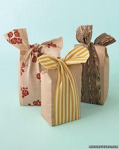 unique gift wrap: lunch bags & fabric scrap bows