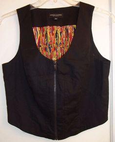 Jonathan Saunders For Target Size Large  Dripping Paint Zip Front Black Vest  #JonathanSaunders