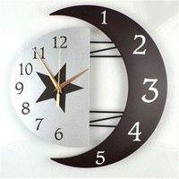 Wooden Decorative Wall Clock, Moon and Sun Accurate Time Design,black (Roman) at Wish Shopping Made Fun