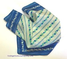 Vera Neumann Scarf / vintage Vera scarf with blue and white floral print at #VintageVenturesShop #Etsy to buy click image #Vintage #Scarf #VeraNeumann #Vera #VeraScarf #VintageVera #Blue #Scarves #FashionAccessories #Accessories #MothersDayGift #Gift