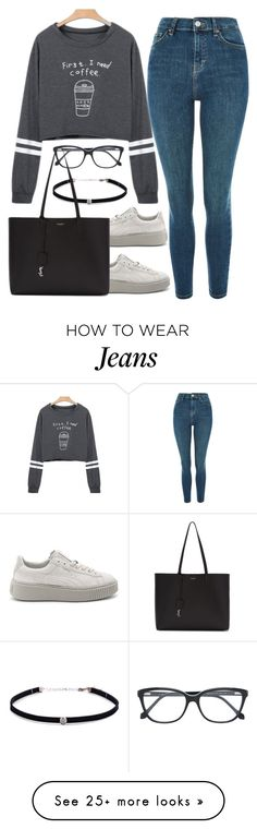 """""""Untitled #1589"""" by blossomfade on Polyvore featuring Topshop, WithChic, Puma, Roberto Cavalli, Carbon & Hyde and Yves Saint Laurent"""