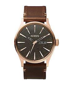 Nixon The Sentry Leather Strap Watch #Dillards