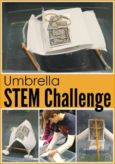 Umbrella Challenge - STEM activity for kids. Keep a tissue dry by creating a structure to protect the tissue. Steam Activities, Science Activities, Activities For Kids, Teaching Science, Stem Teaching, Educational Activities, Stem Science, Science For Kids, Math Stem