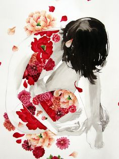 STASIA BURRINGTON, RED FLOWERS PRINT