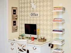 Install Open Shelving  Keep the desk surface clear by adding a book spine to your space. These easy-to-build shelves allow you to stack magazines and books in close proximity while freeing up space on your desk.