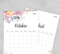 Calendario para imprimir 2020 - Papelería para Imprimir Bullet Journal Printables, Agenda Planner, Calander, Fascinator, Paper Crafts, Notebook, Notes, Baby Shower, Organization