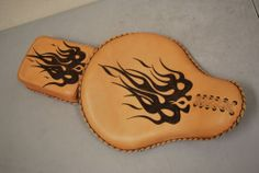 Motorcycle Solo Seat Saddle Custom Leather Flames Bobber Chopper La Rosa Pillion