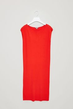 COS image 2 of Ribbed mid-length dress in Signal Red
