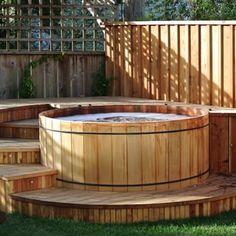 whirlpool im garten Western Red Cedar Hot Tub Luxury Spa Life Hot Tub Garden, Hot Tub Backyard, Backyard Pools, Pool Decks, Whirlpool Deck, Hot Tub Surround, Round Hot Tub, Piscine Diy, Tub Enclosures