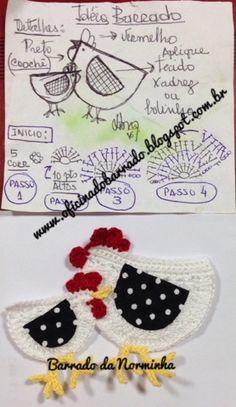 """OFICINA DO BARRADO: Croche - Novas """"Galinhas"""" no Barrado... Crochet Lace Edging, Crochet Borders, Crochet Chart, Crochet Squares, Love Crochet, Crochet Designs, Crochet Patterns, Crochet Chicken, Crochet Potholders"""
