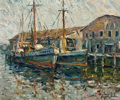 """""""Gloucester Harbour, Massachusetts,"""" by Raynald Leclerc Canadian Painters, Canadian Artists, Tom Thomson, Aesthetic Painting, Impressionist, Gloucester, Original Paintings, Canvas Art, Quebec"""