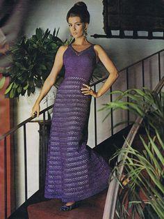 free vintage 70s crochet evening dress pattern