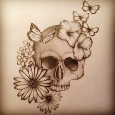 Skull tattoo design.  Description: An idea for the skull tattoo on Ophelia's arm.  Flowers mixed in show the dark innocence of her character and in the show.  The butterflies are representative of her or possibly Hamlet's desire to fly away from their problems.