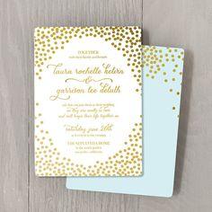 Confetti Gold Foil Custom Wedding Invitation, Sample Set — foil stamped, modern, script, caligraphy on Etsy, $4.00