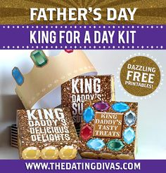 KING FOR A DAY - Best Father's Day Idea EVER!! Love these royal-looking printables and they are FREE too!!