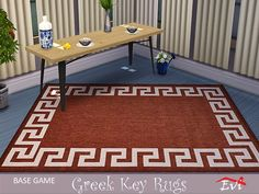 Classical summer rugs decorated with the Greek key Found in TSR Category 'Sims 4 Rug Recolors' Sims Community, Electronic Art, Greek Key, Maxis, Sims 4, Kids Rugs, Home Decor, Decoration Home, Kid Friendly Rugs
