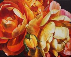 Flower Paintings by Sarah Caswell   Incandescent Roses