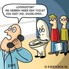 super irritant zo'n toilet dat niet wil doorlopen. #cartoon