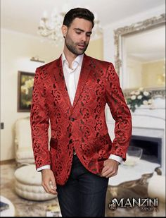 MANZINI MENS 2B PAISLEY SILKY ORANGE BLAZER/SPORTS JACKET ...