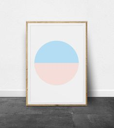Circle Print, Printable Art, Geometric Minimalism, Two Tone, Blue, Pink, Peach, Scandinavian Modern, Circle Design, Colorful, Simplicity