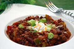 An excellent turkey chili which can be easily switched to a ground beef chili!  Yummy stuff!