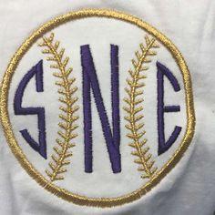 Baseball Softball Embroidery Monogram Design Frame