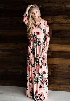Floral Printed Elastic Waist Dress