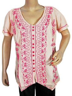 Trendy Fashion Embroidered Tops Blouse Cotton Shirt Pink Top x Large Size | eBay :  US $17.99