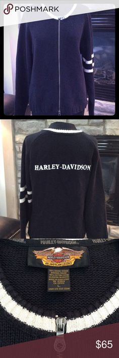 HARLEY-DAVIDSON SWEATER BLACK WITH WHITE LETTERING AND EDGINGS. ZIP IS GUNMETAL WITH HARLEY DAVIDSON ON IT. AUTHENTIC. GOOD CONDITION SIZE L Harley-Davidson Sweaters Cardigans