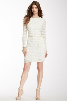 Sandra Darren Texture Belted Long Sleeve Dress by Sandra Darren on @HauteLook