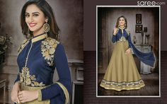 BLUE AND BEIGE SILK ANARKALI SUIT WITH EMBROIDERY WORK