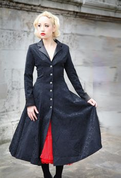 Fairy Goth Mother: cs-brocadecoat Three quarter length brocade swing coat. A light coat with satin collar and cuff details. Looks fabulous over your swing dress.