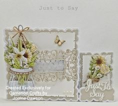 Diy Cards, Craft Cards, Handmade Cards, Stepper Cards, Tattered Lace Cards, New Crafts, Carnations, Floral Arrangements, Birthday Cards