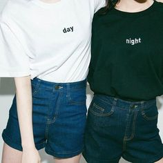 Couple Casual Wear Tees Harajuku Style Summer College Day Night Sun Moon Embroidery Patterns Plus Size T-shirts Loose 2017 Hot Best Friend Outfits, Best Friend Shirts, Matching Outfits Best Friend, Friends Shirts, New Fashion, Korean Fashion, Womens Fashion, Fashion Night, Street Fashion
