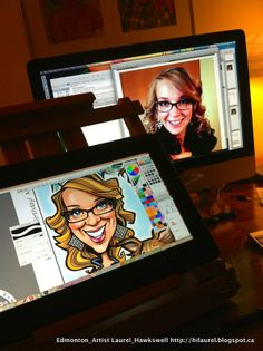 A peak into my artists studio - drawing a Digital Caricature on my Tablet while looking at a picture on my computer